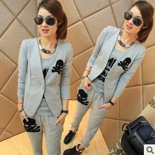 Одежда для отдыха Корейский женская мода осень/зима досуг спортивной тонкий малых три свитера куртка брюки костюм для девушки