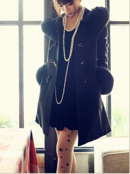 женское пальто Осень/Зима 2013 с новой девушки корейского темперамент тонкие металлические пряжки шерстяное пальто с меховой воротник рукава длиной шерсти