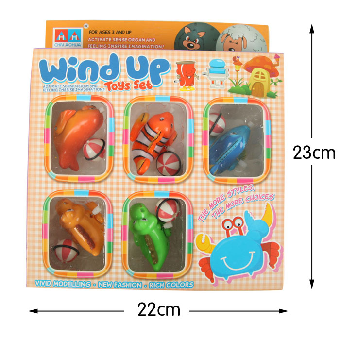 Xtins Wound-up animal chain wind up toys(1 set of 5 pieces)