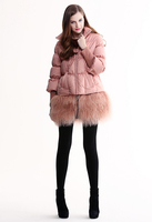 Женские пуховики, Куртки Mirror fun 2012 winter beach wool medium-long stand collar down coat outerwear