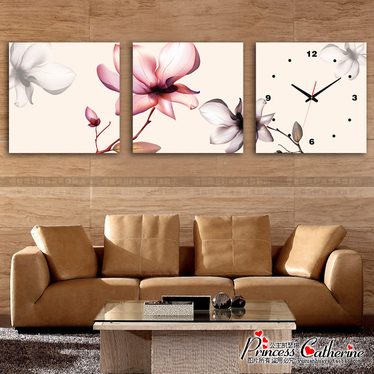 Hao Tong frameless painting Triptych abstract modern bedroom living room wall restaurant frameless painting decorative painting murals transparent flowers
