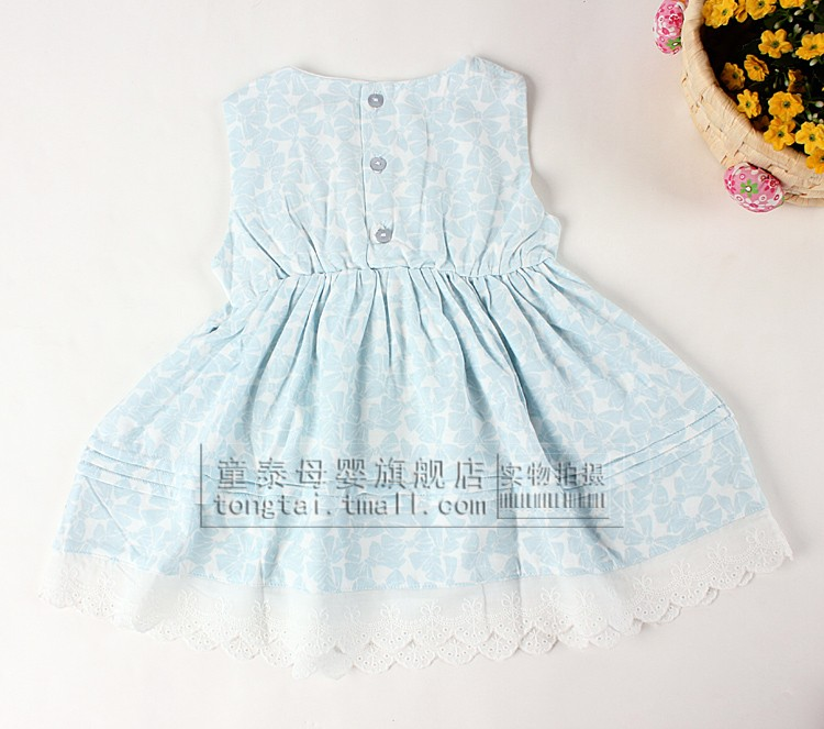Tong Tai 2013 new baby girls sleeveless dresses cotton lace dress vest bow splicing dress in summer
