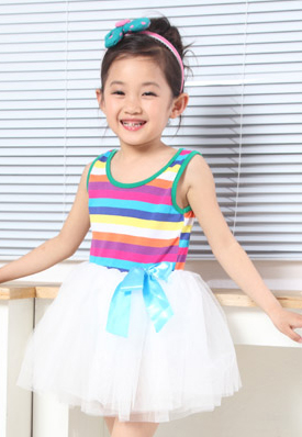 Kids Rainbow 2012 new style summer girls dress performed a dress vest skirt suit striped vest dress