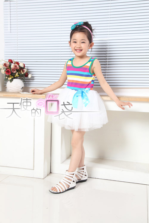 Baoyeah Kids Rainbow 2012 new style summer girls dress performed a dress vest skirt suit striped vest dress