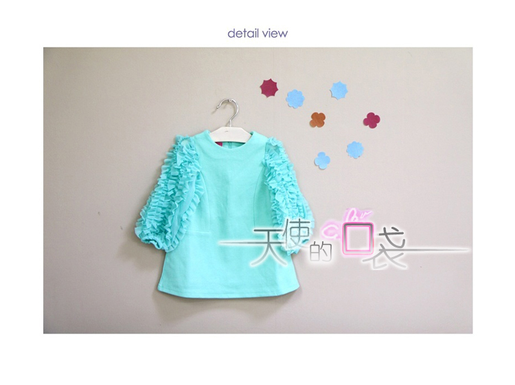 Baoyeah Korean girls children's clothing featured wood ear Angel Pocket long sleeve dress with 2012 autumn girl dress 2 colors