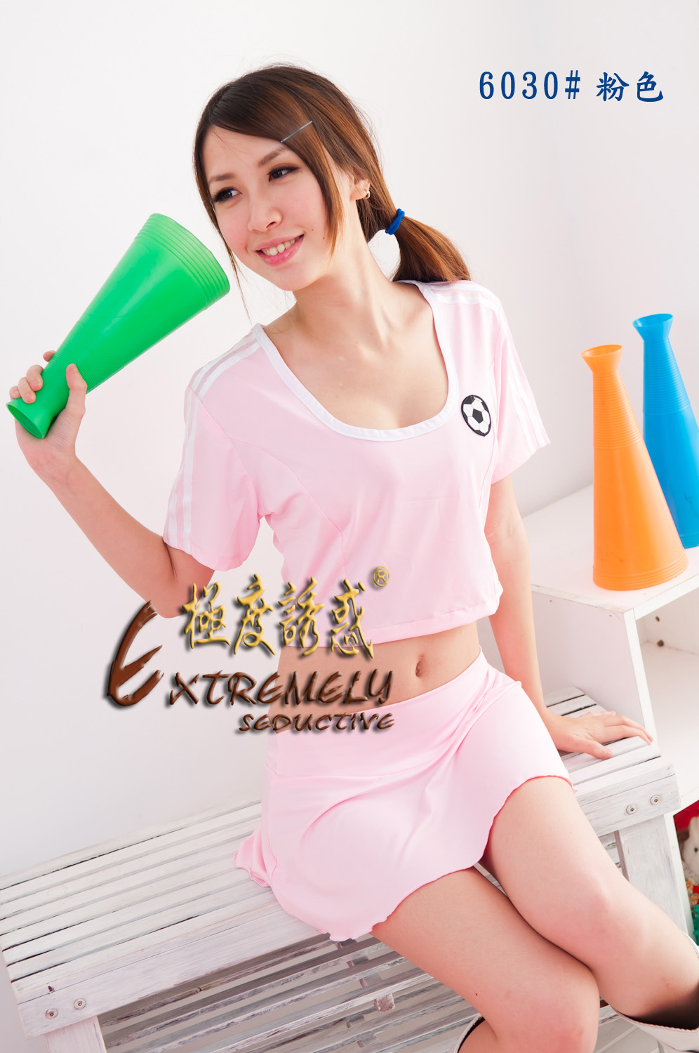 Contains Adult Sexy Solid Short Sleeve Round Collar Women Crop Top T-Back & Mini Skirt 3Ps