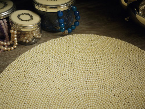 About Habitat products French country luxury European-style hand-beaded placemats India imported ivory mat model room decoration