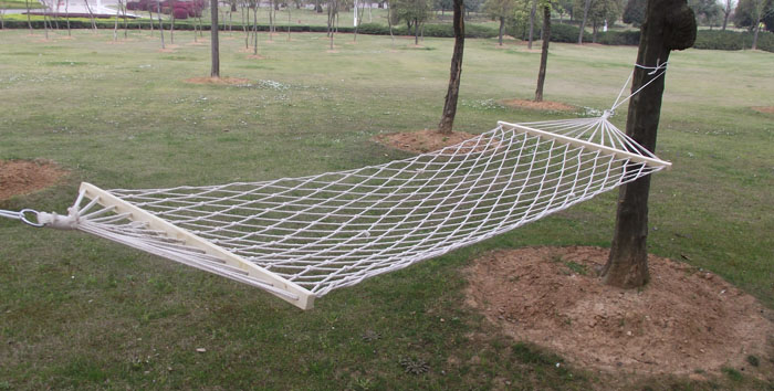 MUXINCAMP a wooden mesh hammock-cotton rope hammock leisure hammock 75 cotton rope