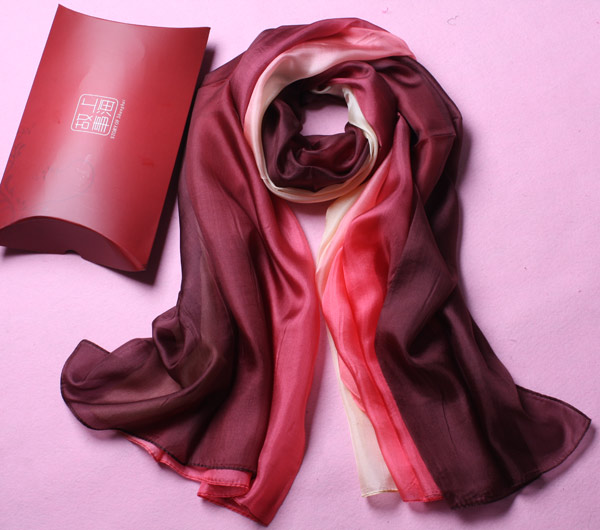 fashion soft coffee pink gradient real silk scarf