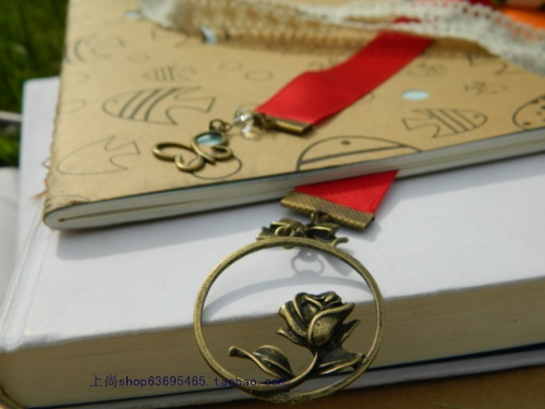 2cm ribbons 15cm creative metal bookmark Valentine's Day Gifts