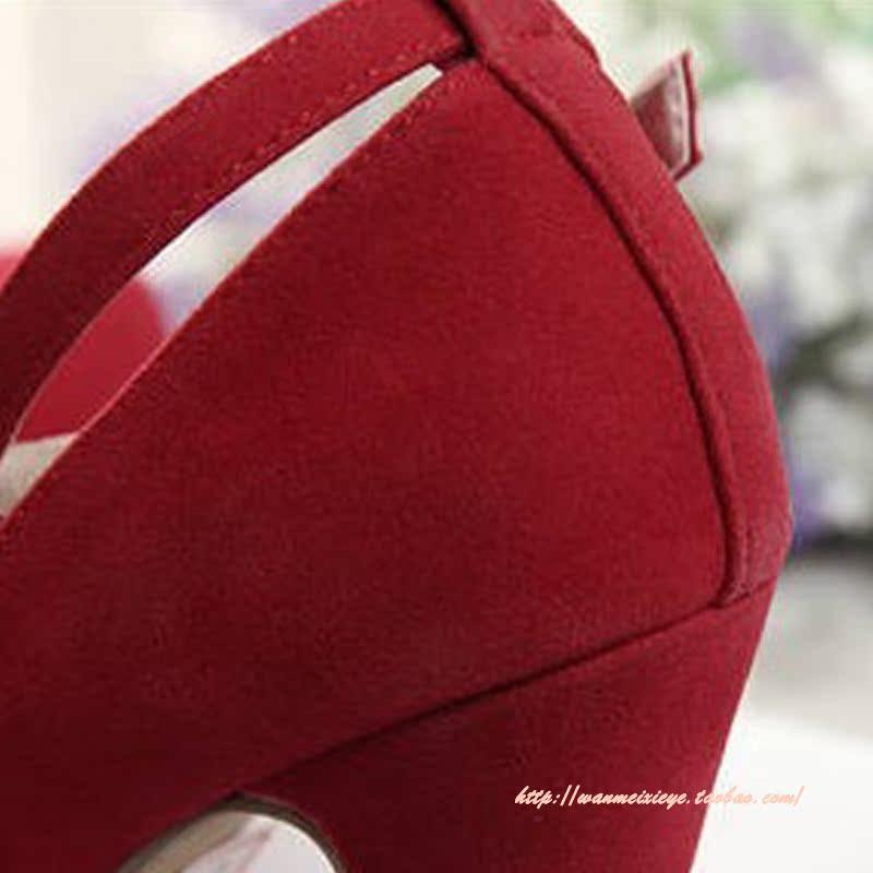 туфли Оптовая женская обувь скидки Джокер Корейский платформы коренастый пятки высокие каблуки женщин высокий каблук свадьба обувь Красный Обувь
