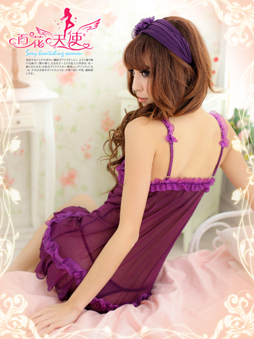 Veegol-HG Ms. sexy lingerie adult products sidewalks sexy sleepwear lace blue and purple satin nightgown noble