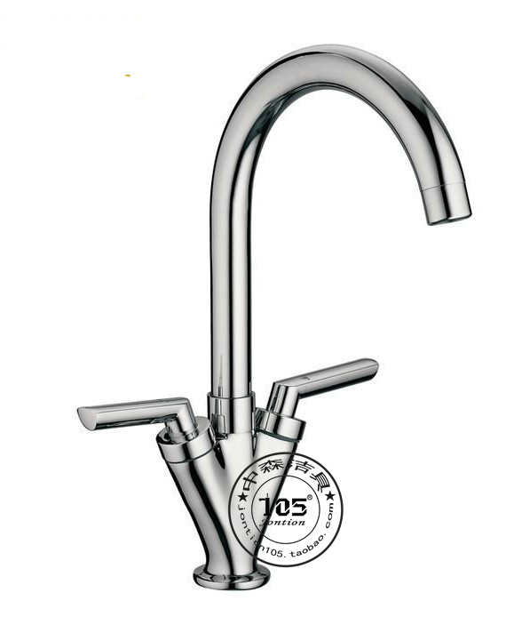 SEN V-type hot and cold taps Sinks pair copper double switch lever rotatable tube sink Universal