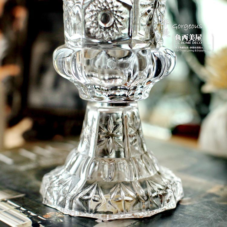 Fish Spanish-American house grocery store Fish house gorgeous Baroque Spanish-American lead crystal glass vase carved glass vase living room
