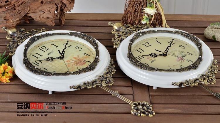 豪华欧式挂钟客厅实木摆钟创意艺术石英钟表田园静音