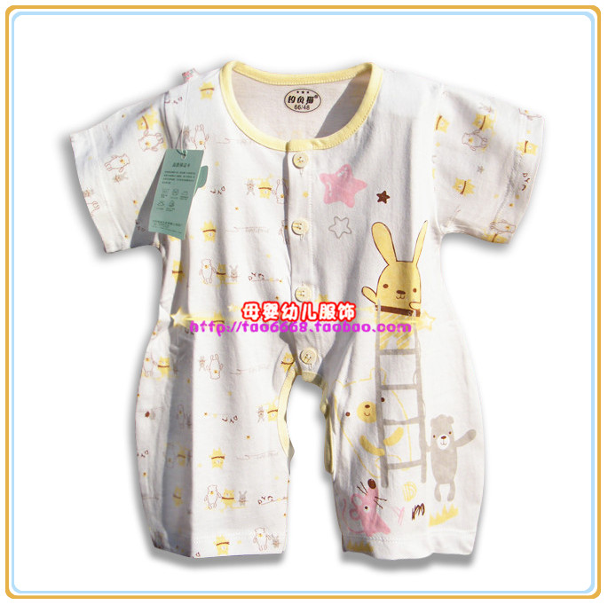 Fishing cat 8299 summer 100% cotton short-sleeved leotard baby Romper climbing clothes infant thin section