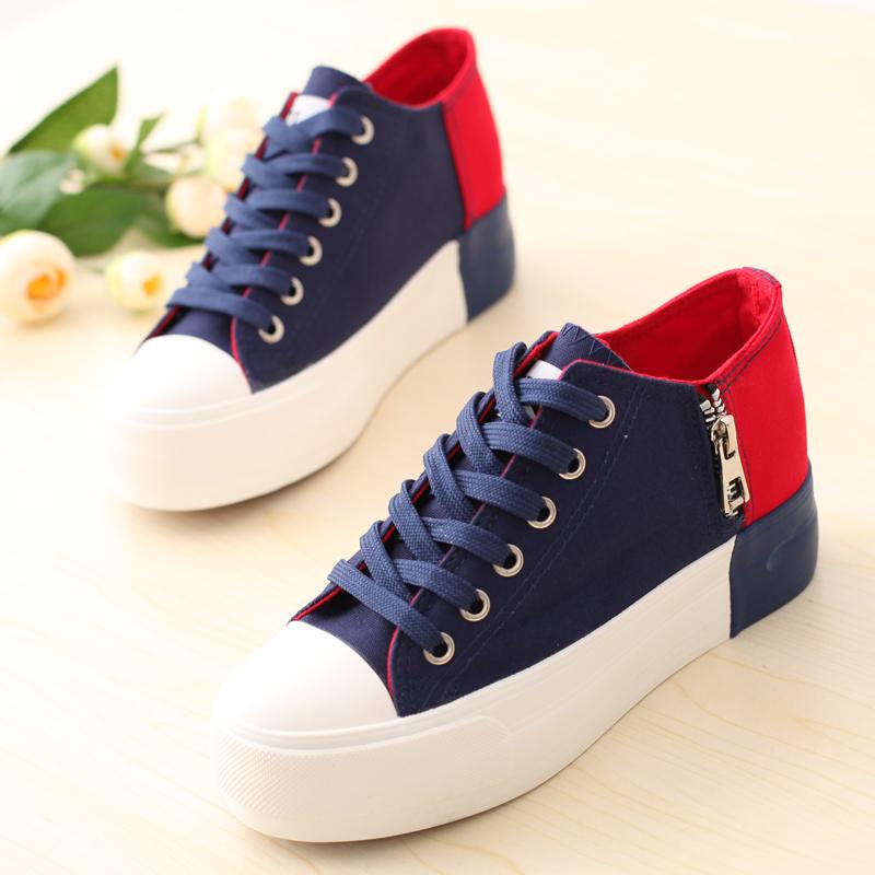 Женские кеды Бекки 2014 лето новый стиль холст обувь досуг обувь женщин обувь Корейский версии потоки увеличить заклинание цвета, ботинки на толстой подошве платформы