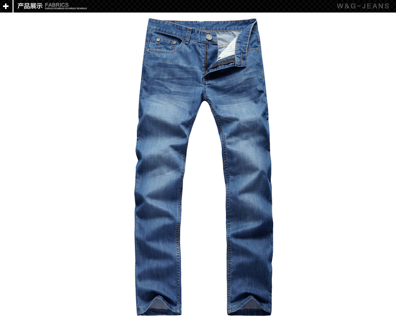 W&G WG Fall of Korean men's straight slim fashion casual jeans washed waist denim pants men