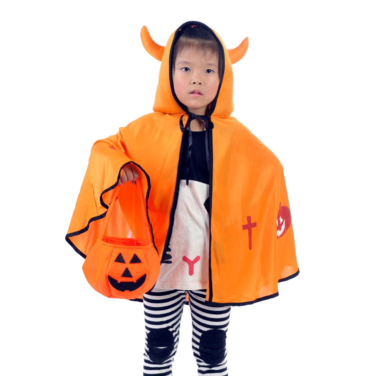 Cutevima-TM Thousand odd square child Halloween costumes boy girl shawl Cape Horn the devil Devil fork pumpkin bucket
