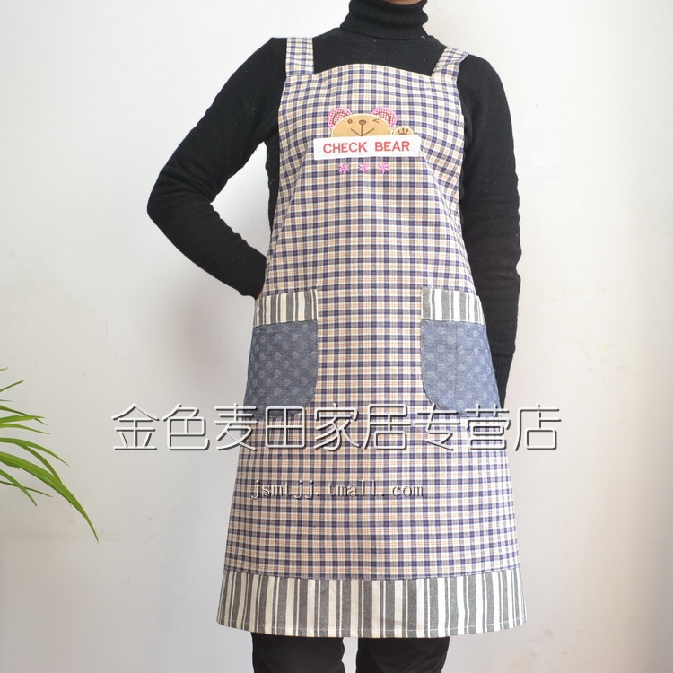 Classic Crown check bears senior Korean cotton thick apron sleeveless apron color optional 2-Pack games