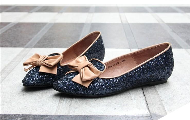 туфли Мода обувь заостренный плоские туфли лук плоские туфли asakuchi блесток плоская обувь лодке обувь женщины