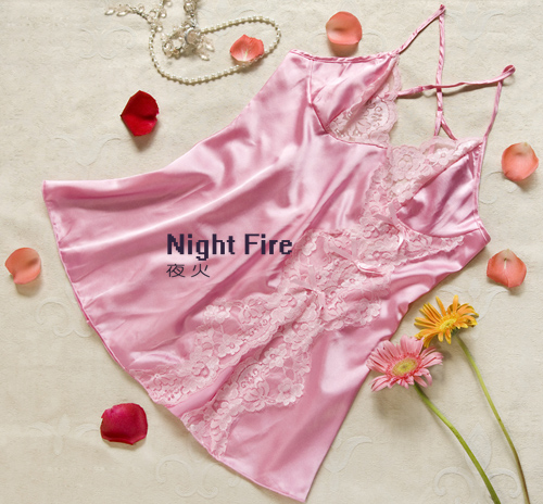 Night fire women's sexy lingerie sexy suit tracksuit purdah Pink silk lace nightgown A1001A