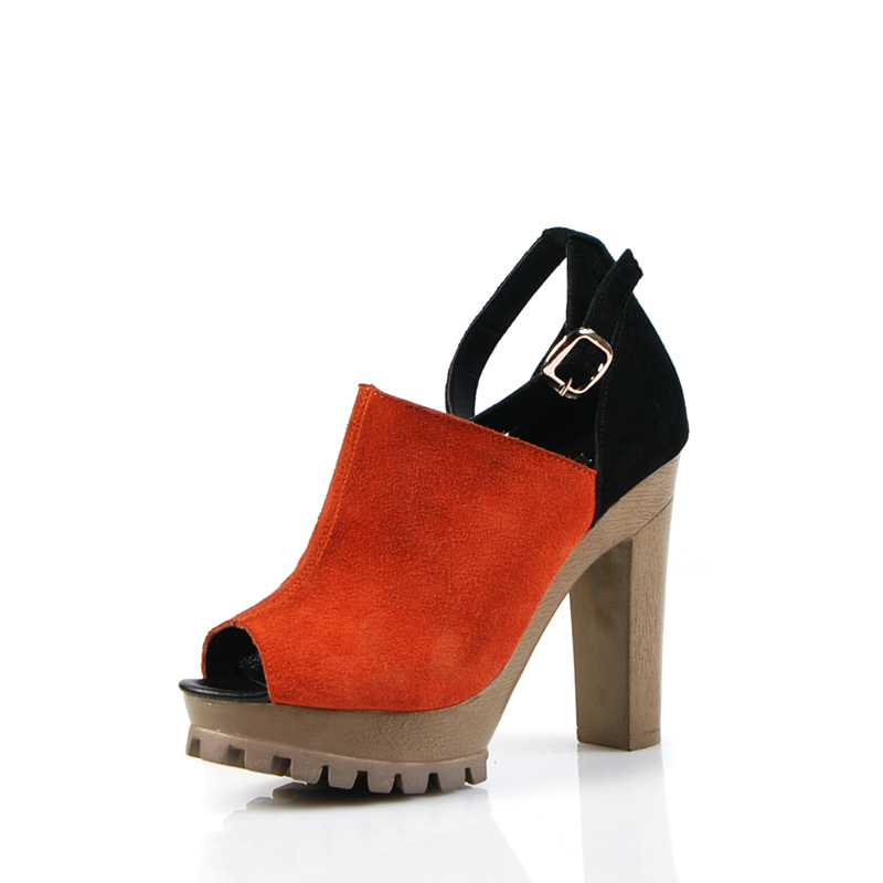 туфли Столкновения, грубая, толстая кожа высокий каблук кожа платформы Пип пальцы в конце 2013 новый стиль обувь Весна Обувь
