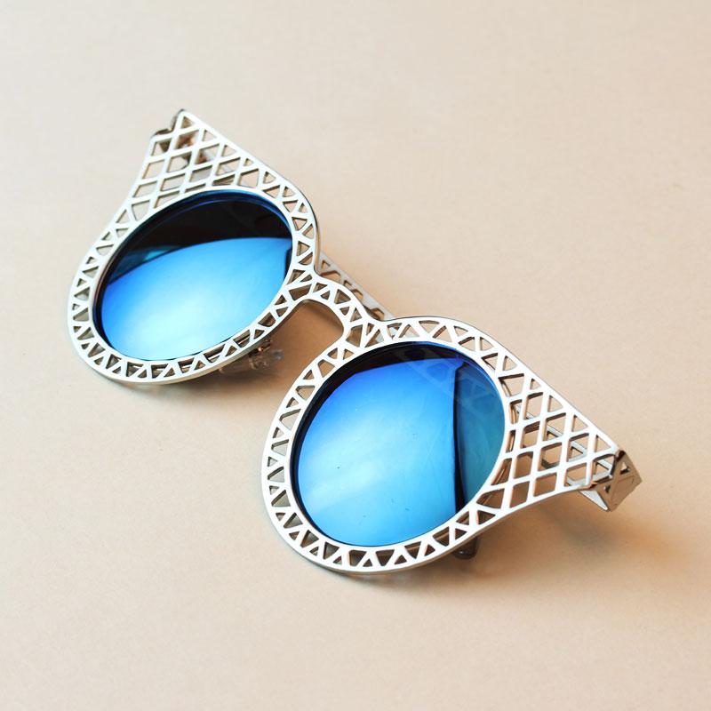 Солнцезащитные очки Новые дамы пустотелые циркулярный металла очки ретро мода солнцезащитные очки солнцезащитные очки красочные сетки лягушка зеркало