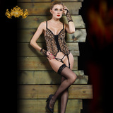 Zhengli European and American trade big yards fat mm sexy lingerie leopard transparent gauze pajamas garters suit Temptation