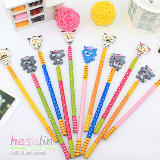 Heselin Colorful Cartoon Animals Style Wooden Pencils 2B Student Pencils10pcs B24