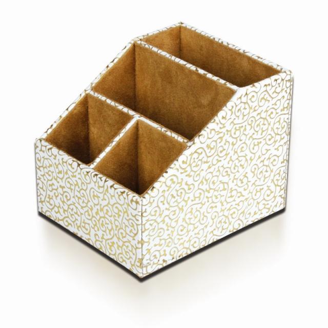 品地白底金花欧式皮革可爱创意椭圆形遥控器收纳盒文具杂物收纳盒17