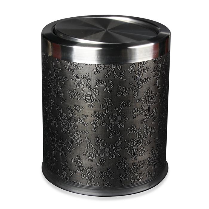品地现代简约风格黑色红色亮面鳄鱼纹皮质双层铁壳高级垃圾桶31