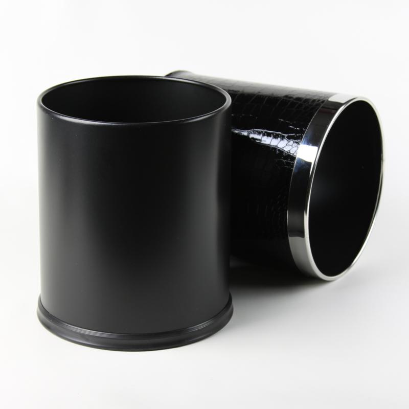 品地现代简约风格黑色红色亮面鳄鱼纹皮质双层铁壳高级垃圾桶8