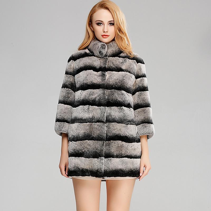 海宁皮草新款青紫蓝 女式中长款皮草大衣 女士獭兔毛外套 立领九分袖