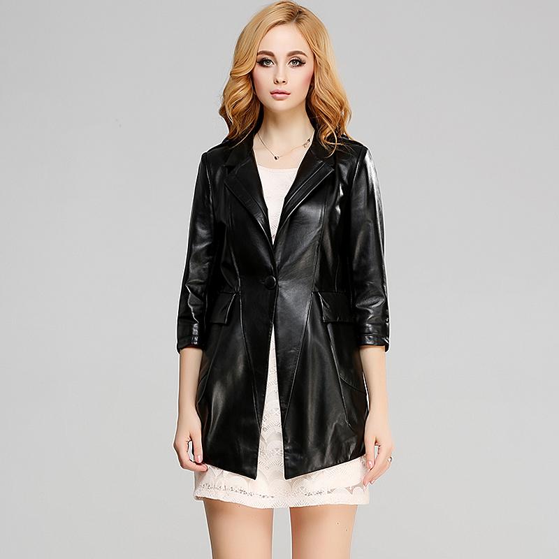 2014新款真皮皮衣 海宁女士绵羊皮女装 女式中长款真皮外套 七分袖