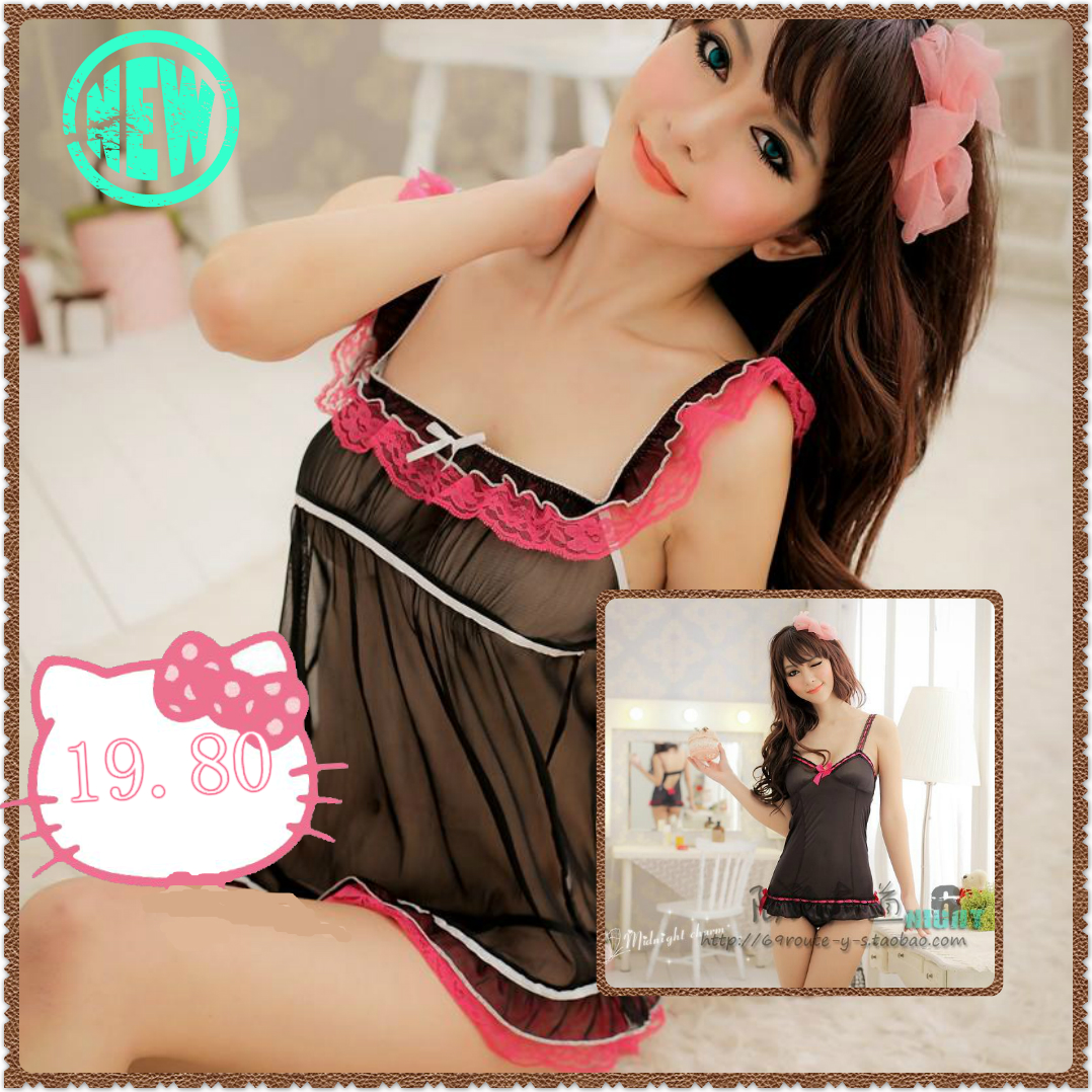 Contains Adult New to Ailei Si black chiffon halter transparent nightgown sexy lingerie sexy pajamas pink halter vest