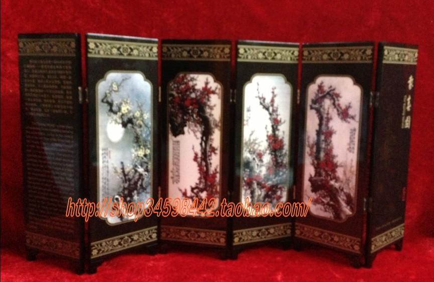 Лакированная ширма Хуэй Весной Herald, шесть небольших антикварных лаковые экраны оснащены моды Бизнес подарки народных ремесел
