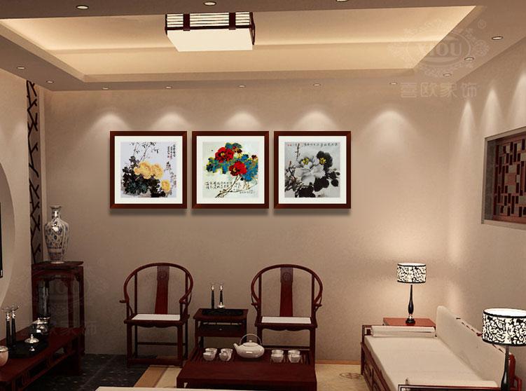The hi-European XIOU furnishings Peony Flower Wood Living Room Decorative Paintings
