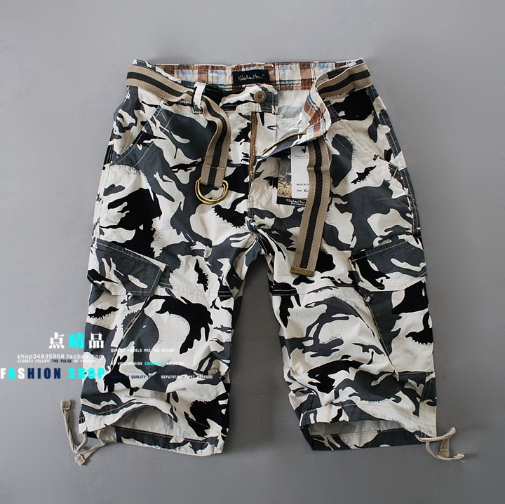 Black and white fans Couple loose white camouflage pants bags of men and women outdoor overalls pants casual pants men trousers men Korean version of hip-hop
