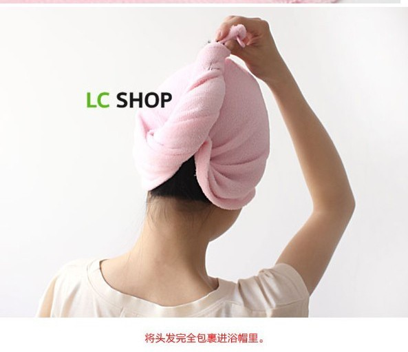 Fragrant-HG Recommended dry hair towel crown cute cartoon bunny magical super-absorbent Dry hair hat pink