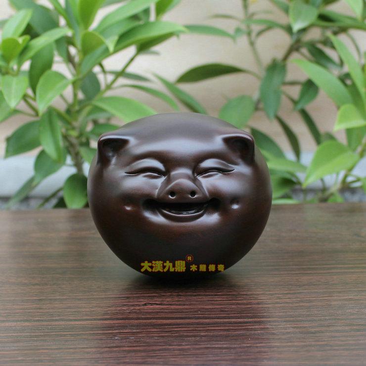Han jiuding Happy pig ornaments ebony mahogany wood carving wood crafts happiness happy pig pig new