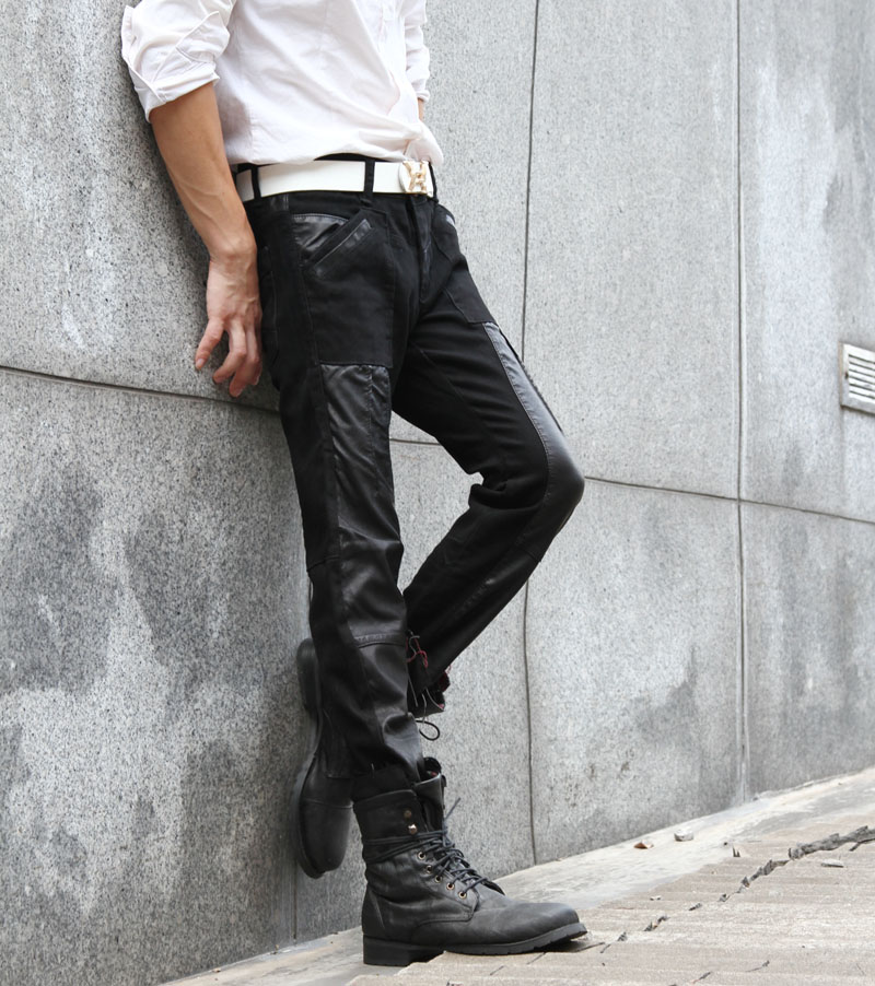 Entong Slim Casual Fashion Breathable Leather & Denim Jointing Men Pants