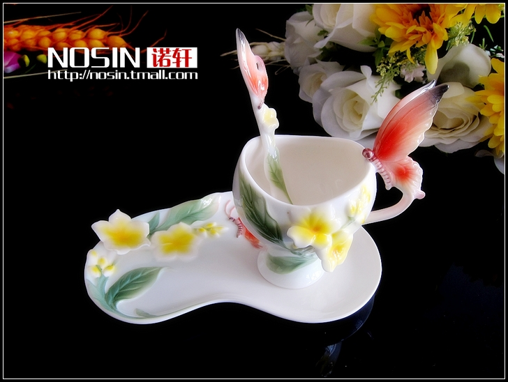 Nosin Hin boutique coffee cup enamel Butterfly egg flower ceramic coffee cup set