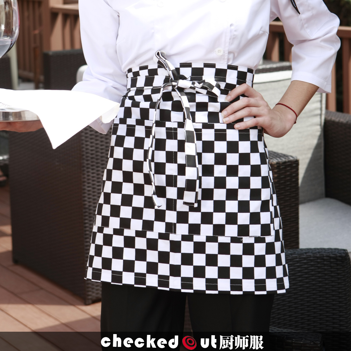Checked 830,120 kitchen chef bar food Café waiter and Korean fashion creative cute aprons coveralls