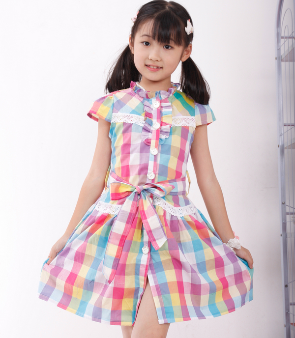 [Summer clearance 2012] Korean cotton plaid in the Princess skirt dress girls ' dresses children children