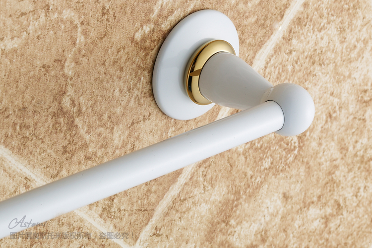 OSJIE Aosituomi copper roasting white towel rail Towel rack bathroom hardware accessories Golden roasted white paint
