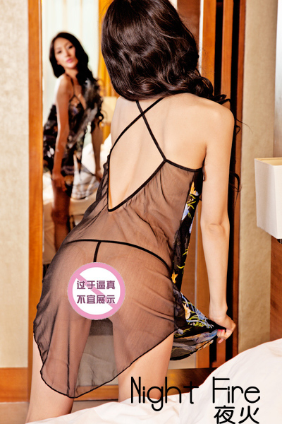 Genuine brand new shelves night fire sexy underwear transparent mesh lure upscale women's skirts Pyjamas