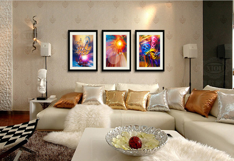 The hi-European XIOU furnishings Modern minimalist abstract art framed painting living room bedroom bedside restaurant triple wall paintings decorative painting mural