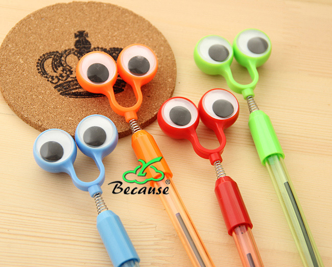 DeLi 1.0mm Creative Stationery Wholesale Ballpoint Pen Cute Eye Ball-Point Pen Boxed 24Pcs/Blue1241