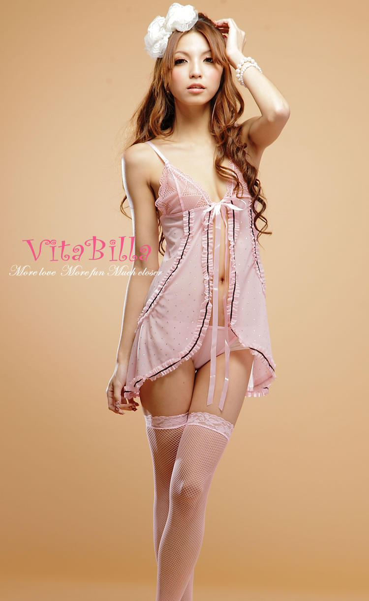 Veegol-HG Classic Chinlon Lace Real Silk Women Sexy Pajamas & Thong Set